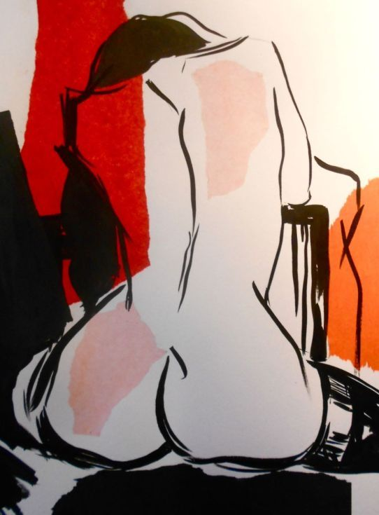 ARTFINDER: Naked Line 3 by Sheila Volpe - Contemporary nude artwork using simple black line with splashes of collage colour. Sold with mount and will fit a standard shop brought frame.