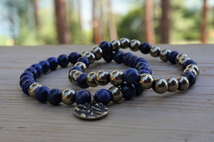 Gemstone bracelets, Lapis bracelet, Gold bracelet, Yoga jewelry, Blue and gold, Charm bracelet, Handmade Jewelry, Gift for her, Boho style by MulkaArts on Etsy https://www.etsy.com/uk/listing/546495195/gemstone-bracelets-lapis-bracelet-gold