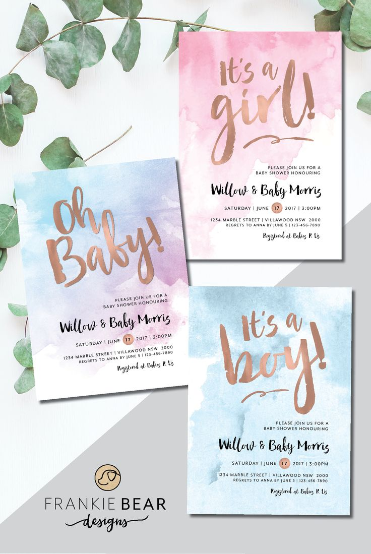 Watercolour | Watercolor Baby Shower Invitation | Boy Baby Shower | Girl Baby Shower | Unisex Baby Shower | FrankieBearDesigns. These stunning girl, boy or unisex baby shower invitations are perfect for celebrating the upcoming birth of a baby boy or girl! They feature a gorgeous watercolour background with a rose gold foil heading. Wording and marble colour can be changed if required #frankiebeardesigns