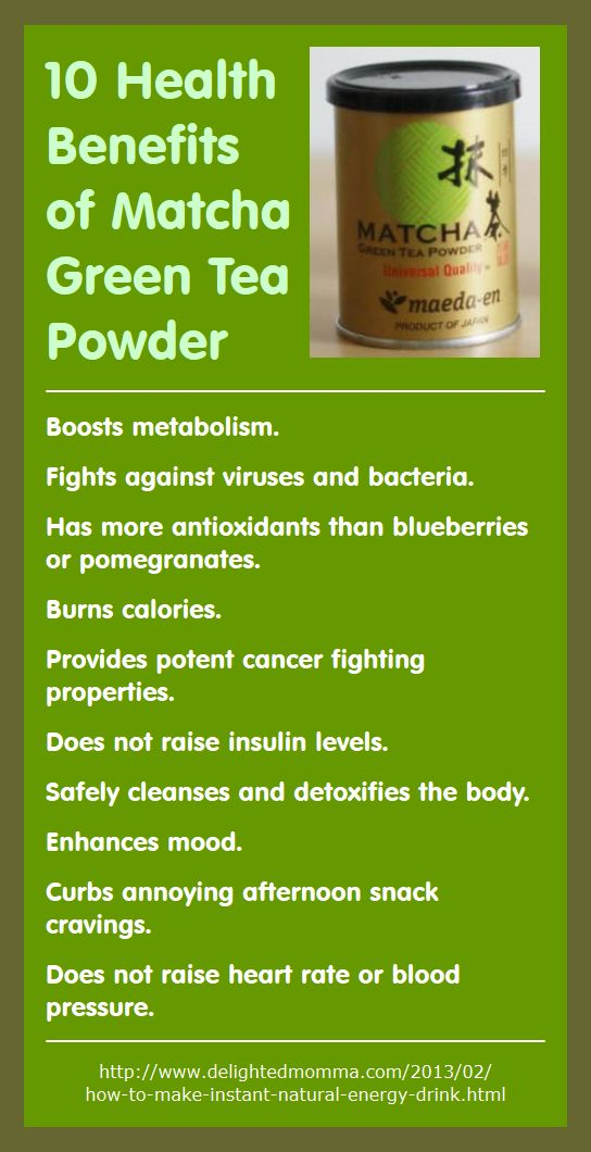 Here are 10 health benefits of using matcha green tea powder (recipe included for Matcha Green Tea Energy Drink). - http://www.amazon.com/gp/product/B0087ALJ3M/ref=as_li_qf_sp_asin_il_tl?ie=UTF8&camp=1789&creative=9325&creativeASIN=B0087ALJ3M&linkCode=as2&tag=bookmarketingupd