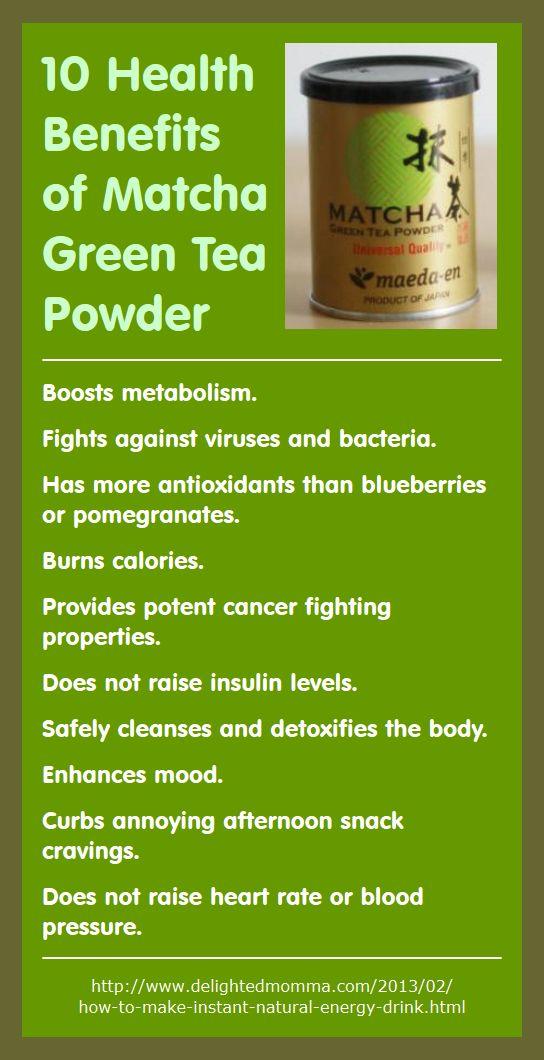 Here are 10 health benefits of using matcha green tea powder (recipe included for Matcha Green Tea Energy Drink). - http://www.amazon.com/gp/product/B0087ALJ3M/ref=as_li_qf_sp_asin_il_tl?ie=UTF8&camp=1789&creative=9325&creativeASIN=B0087ALJ3M&linkCode=as2&tag=bookmarketingupd