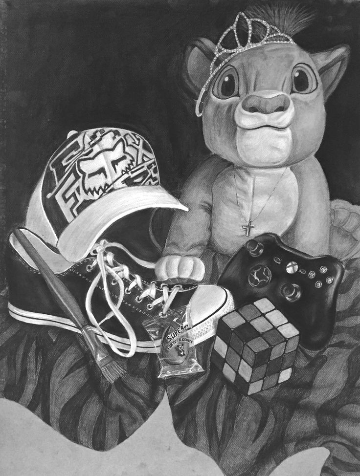 Student work - Foundation Drawing - Youngstown State U. - personal still life.
