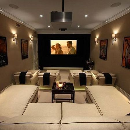 Home theatre  With a few changes it's possible to convert a garage into a home theatre. Add carpeting, some comfy chairs, a flat-screen TV and surround sound and you're ready to sit back and relax.