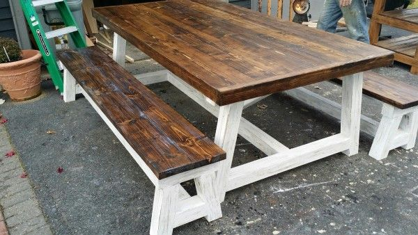 Two-Toned shabby chic 4X4 Truss dining Table and Benches | Do It Yourself Home Projects from Ana White