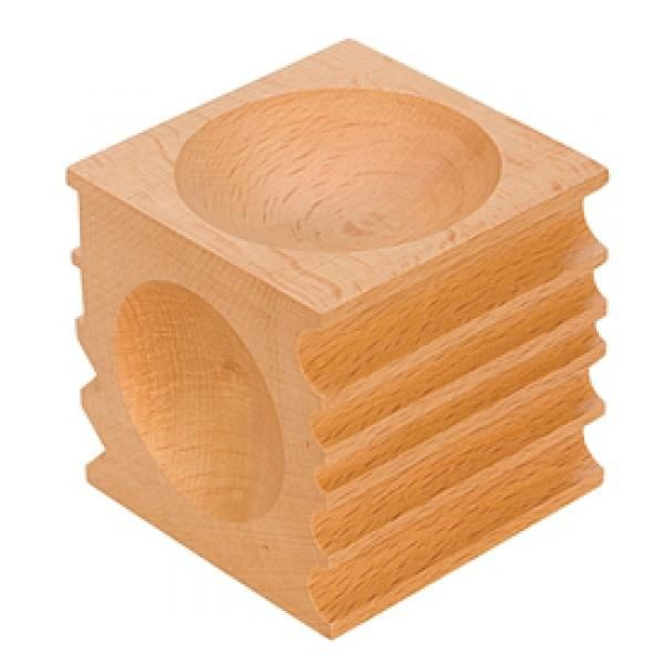 """Wood Forming Block Wood Forming Block. Made of hardwood and hand sanded to a smooth finish. Use this block when working with fine or soft metals and marring could be an issue. Four round depressions: 2 ¼"""", 2 1/8"""", 1 7/8"""" and 1 ¾"""" diameters. Five U channels, two 90° channels, two 45° grooves"""
