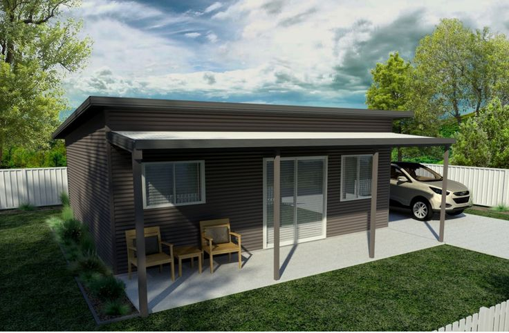 Our Ascent design featuring a contemporary skillion roof with an awning for added outdoor living, colours in Jasmine Brown & Monolith. This compact design featuring generous sized kitchen and living areas would be the ideal guest accommodation, teenage retreat or granny flat.
