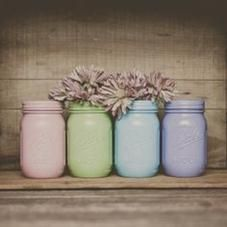 Painted mason jars. set of 4. Easter decor. Home decor, baby showers. $32.00