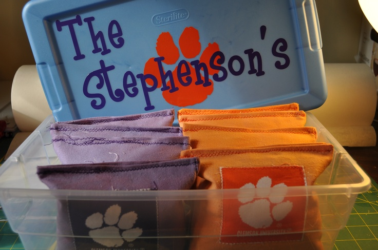CLEMSON CORNHOLE BAGS AND PERSONALIZED STORAGE BIN