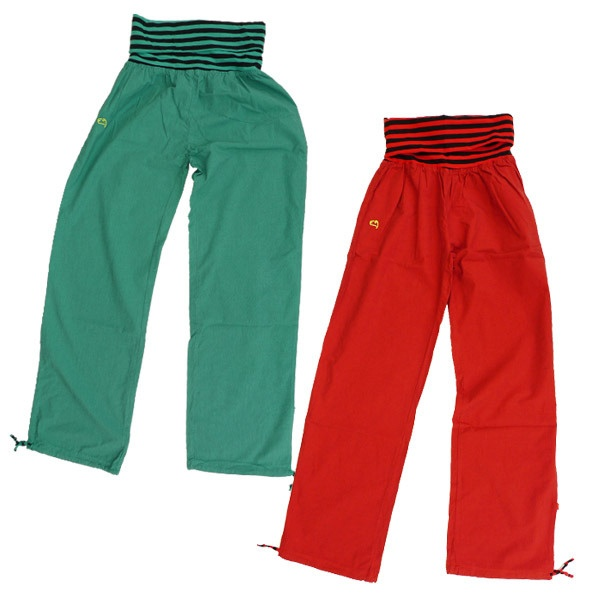 Roll-up, Roll-up! The E9 Lem is a cool, loose fitting womens climbing pant with a striped contrasting roll-top. http://www.urbanrock.com/lem