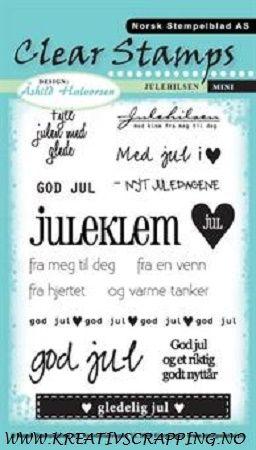 NORSK STEMPELBLAD - MINI 4330 - JULEHILSEN Pakke med 15 clear stamps fra NORSK STEMPELBLAD med norske juletekster. Stemplene passer til rund punch som måler 1 inch. Stemplene festes til en akryllkloss, og er så klar til bruk.