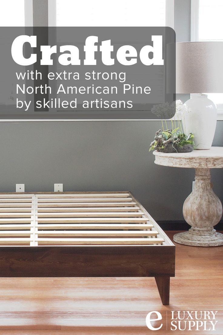 """The eLuxurySupply Artisan Platform Bed is made in the United States with North American pine. The unit snaps together in under 3 minutes by one person and no tools are necessary. It's rated for up to 900 pounds and is constructed for twin, twin XL, full, queen, king and california king mattresses. This particular pine platform bed matches perfectly with our 10"""" gel memory foam mattress. The bed is delivered directly to your door via parcel mail. #platformbed"""