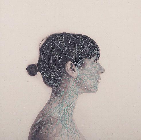 Serie de bordados a mano hechos sobre foto impresas en tela.