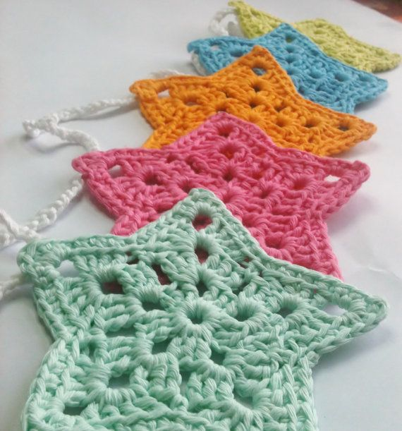 Crochet Star Bunting by HandmadeByAllieCat on Etsy, £16.00