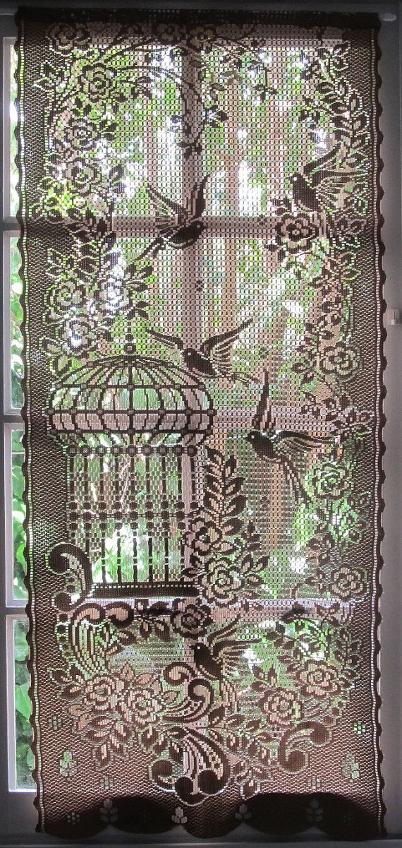 Brown Lace Curtain French Window Curtain