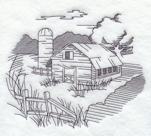 Barn and Country Scene Embroidery Design