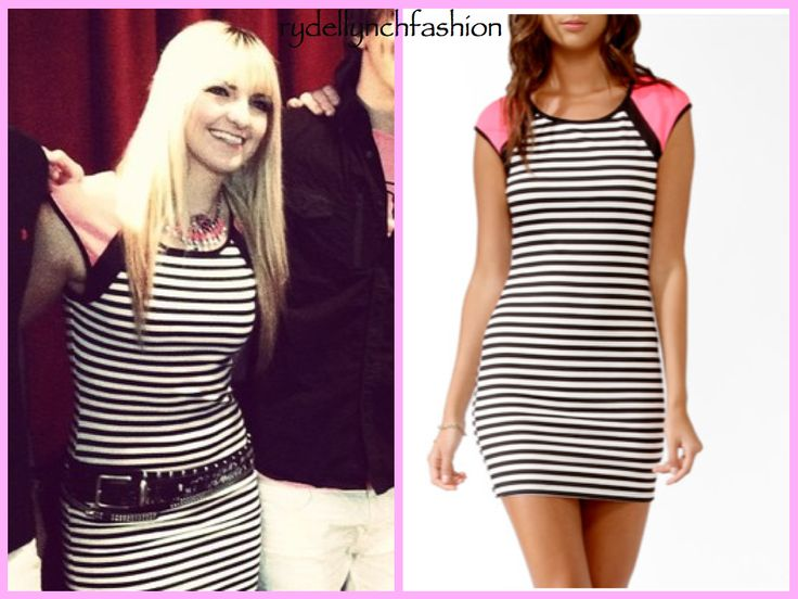 Striped Contrast Sleeve Dress from Foreber 21 -- Worn at the Orlando, FL Concert on April 23, 2013