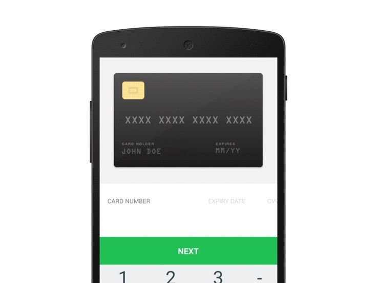 Credit card input on mobile