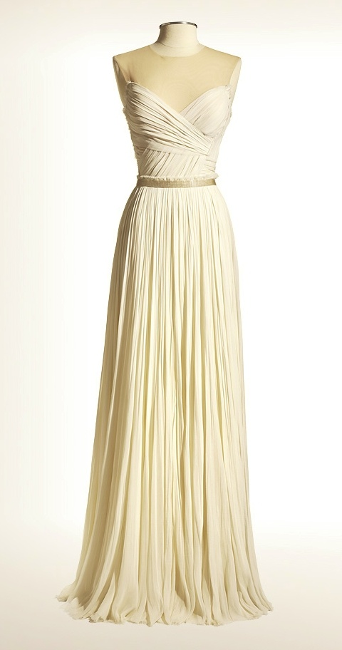 J. Mendel silk chiffon hand-pleated gown with tulle back and beaded belt