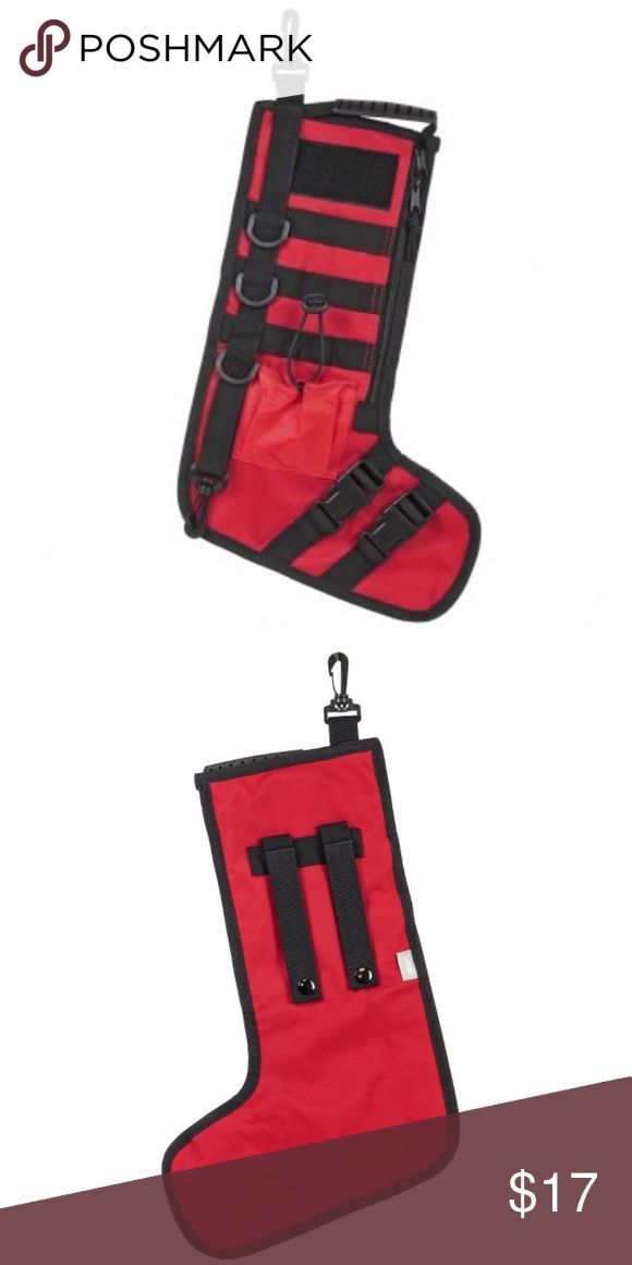 """Tactical Christmas Stockings w/ handle Tactical Xmas StockingSide zipper for the main compartment. Plastic clip on the top left corner Bottom plastic clip on the bottom left .Three plastic D-rings on the left side.3.5"""" X 2"""" loop fastener for attach hook and loop name tapes & moral patches.3 rows of MOLLE webbing for attaching other MOLLE gear to your stockings.3"""" X 3.5"""" front mounted pocket with bungee shock cord closure.On the back side of stockings are two PAL straps with metal thumb snaps…"""