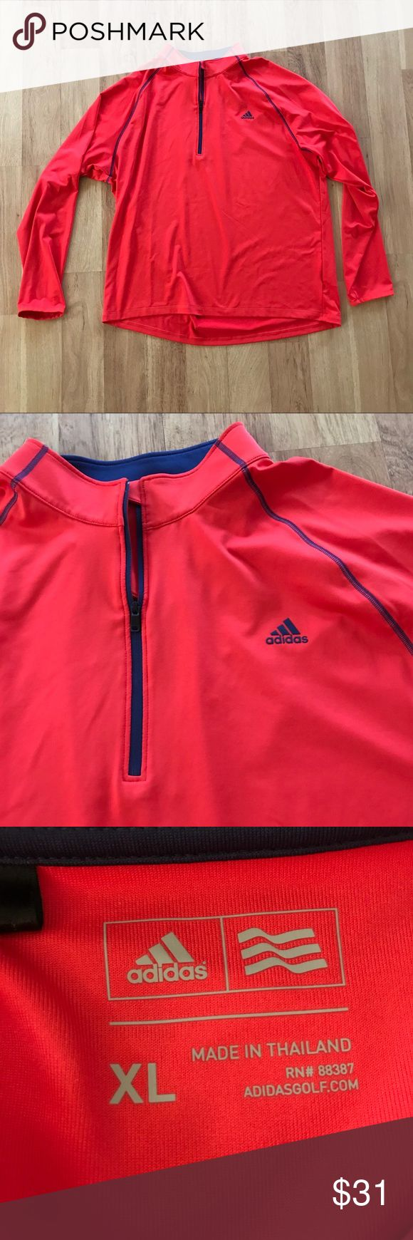 Men's Adidas Orange and Blue Quarter Zip Jacket ⚜️I love receiving offers through the offer button!⚜️ Good condition, as seen in pictures! Fast same or next day shipping!📨 Open to offers but I don't negotiate in the comments so please use the offer button😊 Check out the rest of my closet for more Adidas, Lululemon, Tory Burch, Urban Outfitters, Free People, Anthropologie, Victoria's Secret, Sam Edelman, Topshop, Asos, Revolve, Brandy Melville, Zara, and American Apparel! adidas Jackets…
