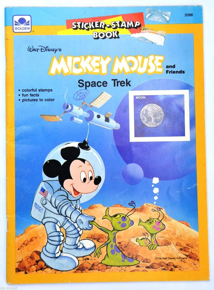 Vintage 1987 Scarce Disney Mickey Mouse Space Trek Sticker Stamp Coloring Book