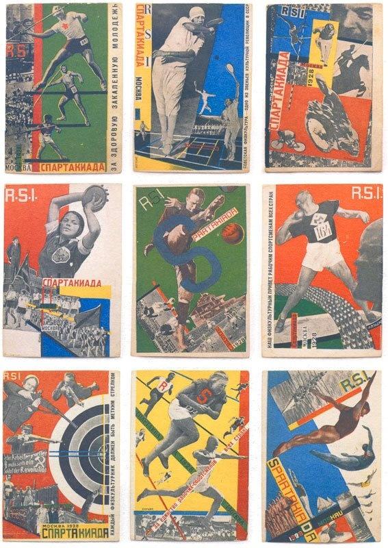 Spartaklada Moskva 1928. Nine postcard photomontages.  Gustav Klucis (Latvia, 1895–1938)