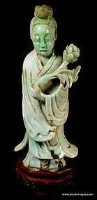 19th Century Jadite Carving of Guanyin (Kwan Yin)