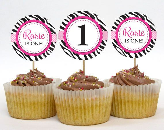 Personalized Pink Zebra Birthday Cupcake Toppers – 2 Inch Circles – DIY Printable (Digital File)