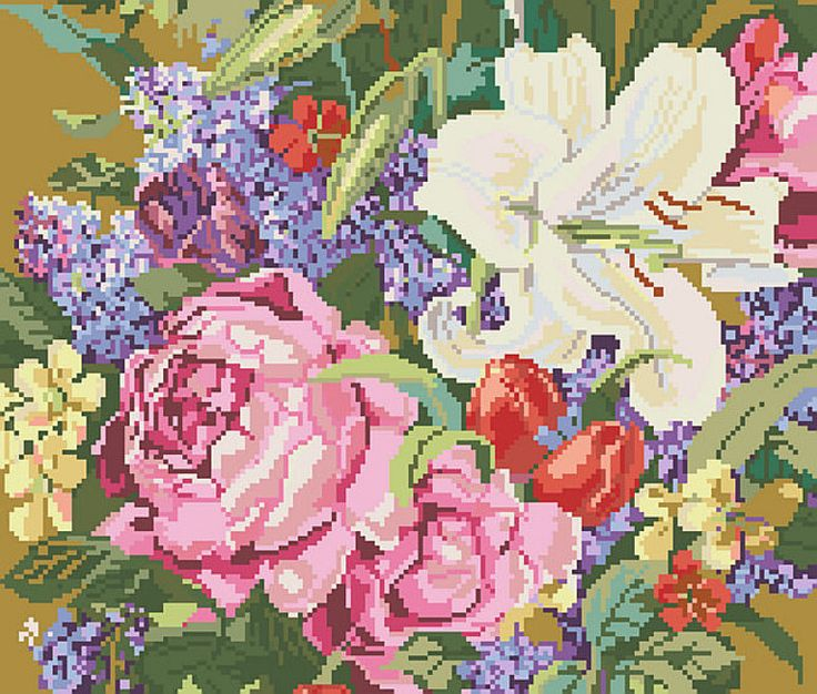Beautiful Cross Stitch Patterns | Cross Stitch PDF Pattern Lily and Roses From Kooler Design Studio