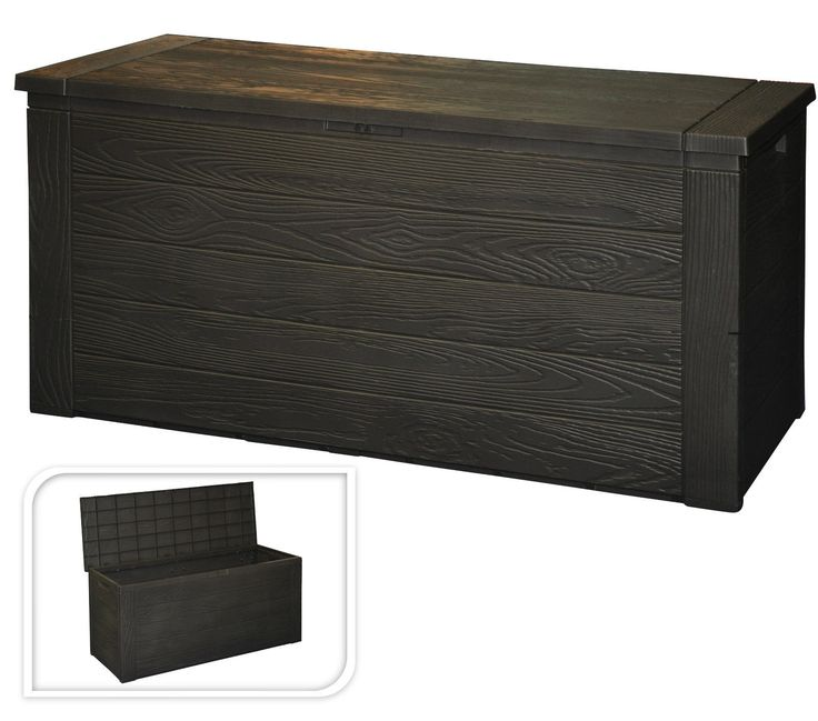 Wood Grain Plastic Garden Storage Box With Lid Garden Patio Cushion Storage  Box