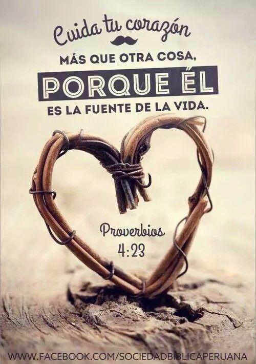 Proverbios 4:23 Sobre toda cosa guardada, guarda tu corazón; Porque de él mana la vida.♔