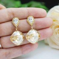 Golden Shadow Swarovski Crystal diamond shape earrings from EarringsNation