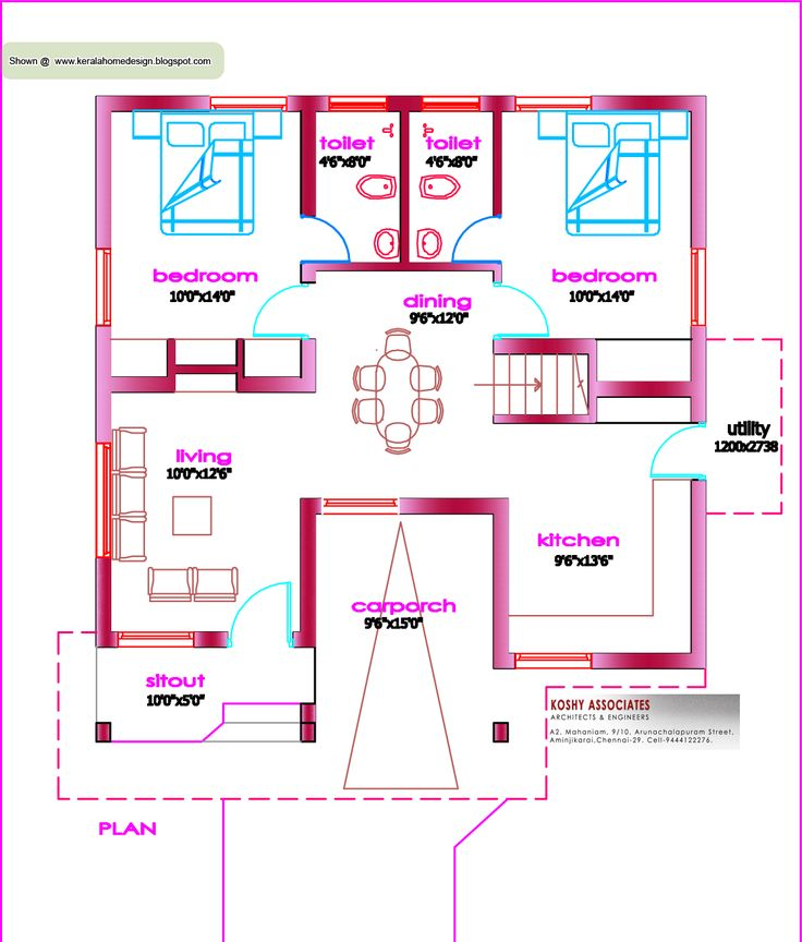 1100 Sq Ft House Plans single floor house plan - 1000 sq. ft. - kerala home design and