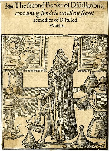"""The second Booke of Distillations 1599. Containing Sundrie excellent Secret remedies of """"Distilled Waters"""". Anonymous Woodcut."""