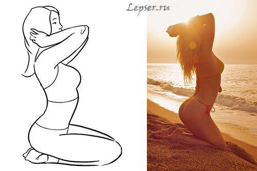 Легкая и простая поза, которая подчеркивает линии женской фигуры. Идеально подходит в качестве силуэта на ярком фоне.