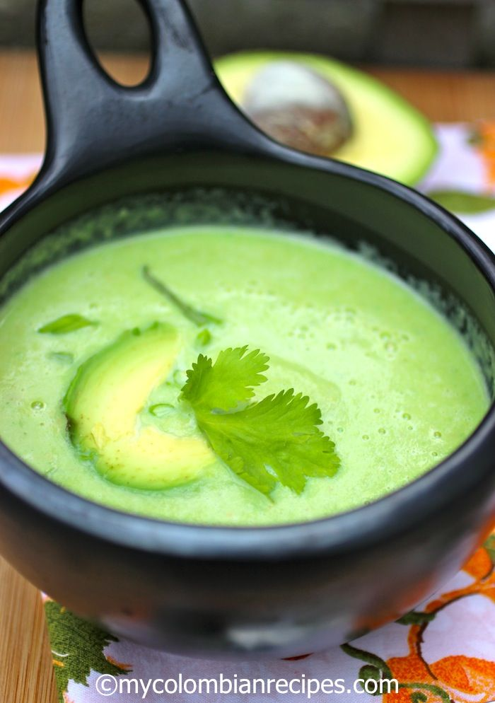 Colombian soup called Crema de Aguacate (#Colombian Creamy Avocado Soup). A mix of avocados, heavy cream, cumin, lime juice and fresh cilantro give this soup a fantastic flavor. Chicken stock is used as a base