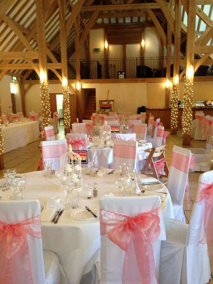 Coral Chair Bows On Bespoke Chair Covers At Rivervale Barn Wedding Venue By Www Fuschiadesigns Co Wedding Preparation Chair Covers Wedding Barn Wedding Venue
