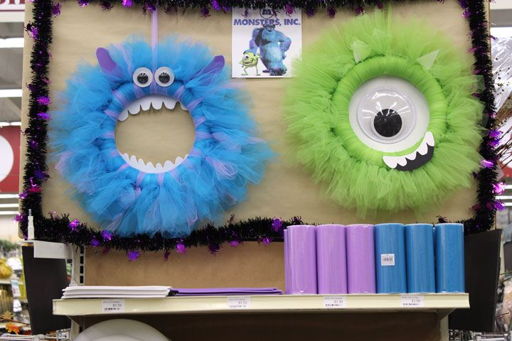 Our Monsters Inc. Wreaths made out of Tulle.