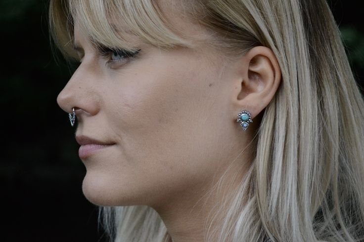 Turquoise+Moonstone Pyramid Stud Earrings