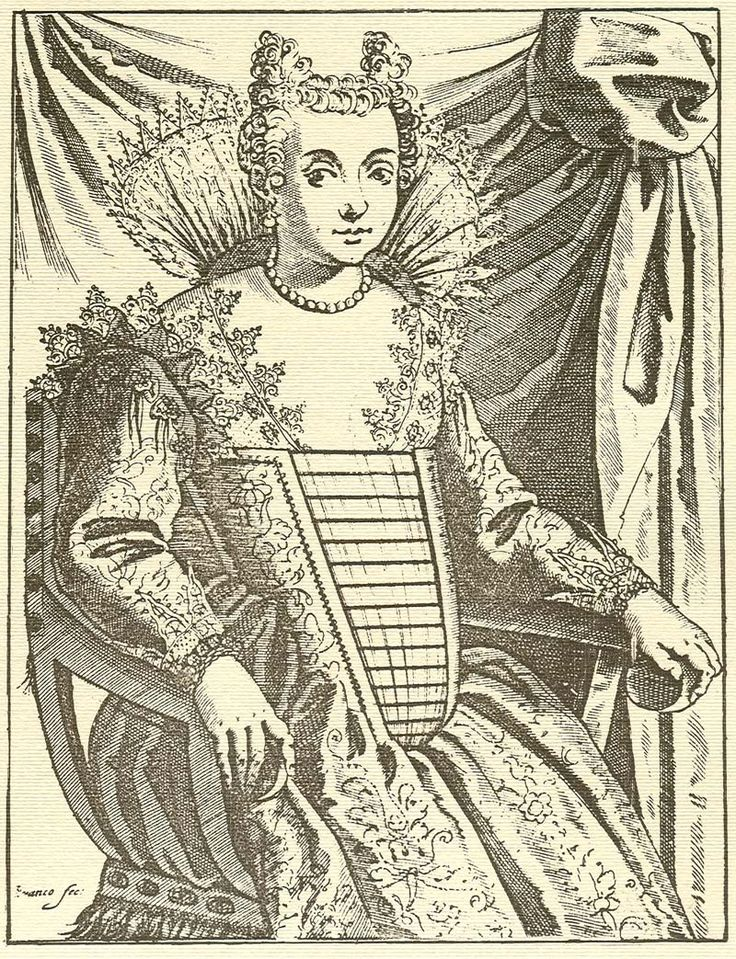 1. Giacomo Franco Gentildonna Matrona (c. 1600) etching of a woman with hair horns, a hairstyle often worn by Venetian courtesans during the Renaissance
