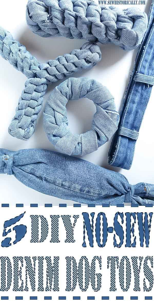 5 DIY No-Sew Recycled Denim Dog Toys