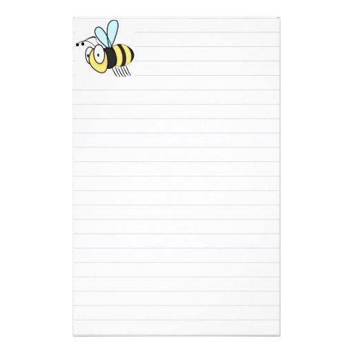 Cute Little Cartoon Bumble Bee Stationary Custom Stationery