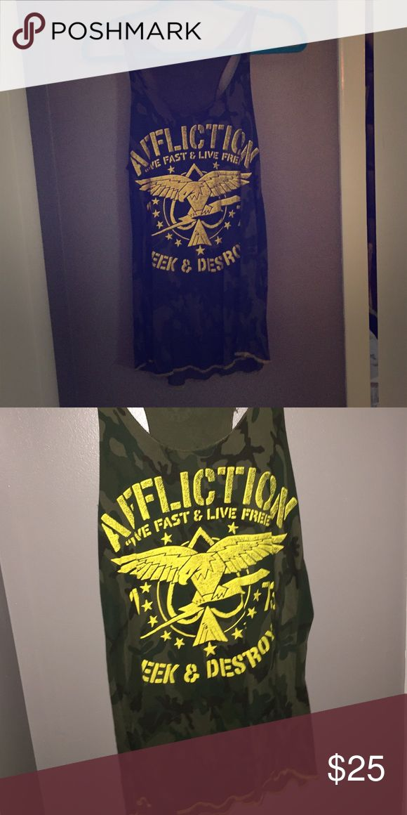 Affliction Cano tank top Great condition camo tank top with yellow lettering Affliction Tops Tank Tops
