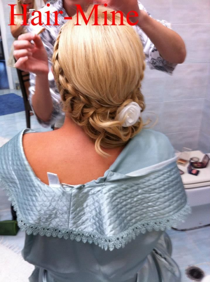 Trendy Curly Updo With Bangs And Hair Flowers Hair by Ermi Sdrali @Hairmine WWW.HAIRMINE.GR