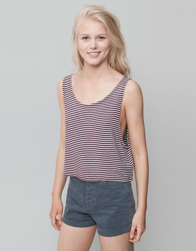 Pull&Bear - mujer - camisetas y tops - camiseta tirantes rayas - burdeos - 09240339-I2015