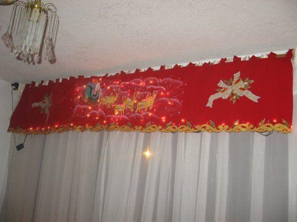 Cenefa navide a pintada a mano con luces incorporadas for Cortinas navidenas para sala