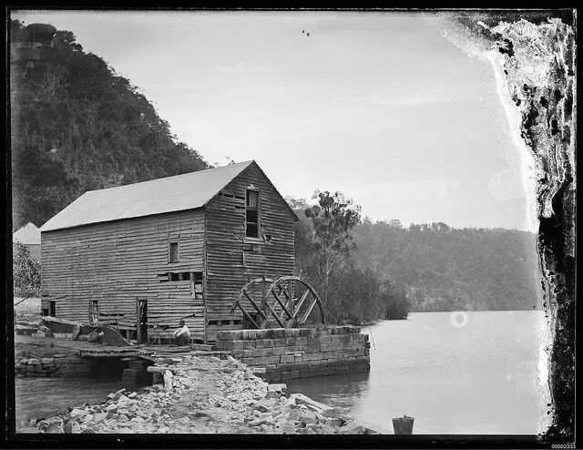 Singleton's Mill,Hawkesbury River, NSW, which was built in 1834 for brothers, James and Benjamin Singleton. It was used to 'ground wheat and maize...until the great flood of 1867' which caused extensive damage. Despite it falling into disuse, much of its 'antiquated machinery' still existed when this article was published. It was even said to have been haunted and it remained a tourist attraction until it was demolished in the early 1900s.