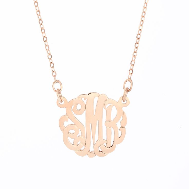 Petite Rose Gold Monogram Necklace you'll adore. This monogram is only 5/8 an inch long and is paired with a 16 inch rolo chain.