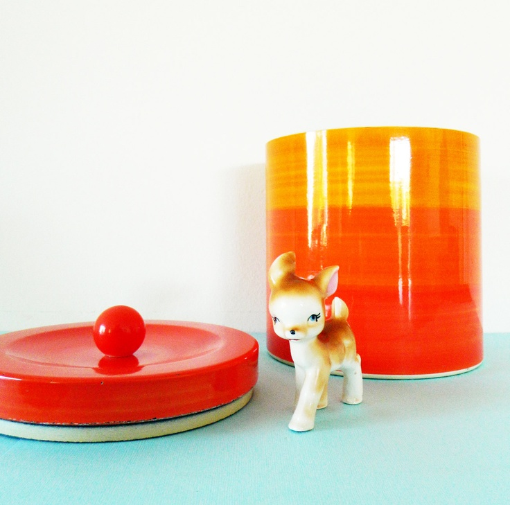 // handpainted citrus striped canister