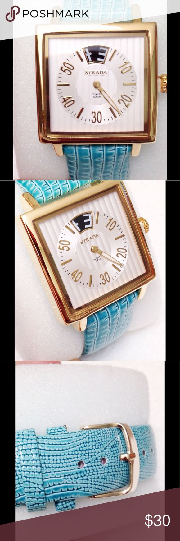 """🆕 Aqua Dreaming Love this watch and how the 12 o'clock setting is so different. Face is 1 1/4"""" square. Aqua band. Japanese quartz movement, splash resistance, stainless steel back. Accessories Watches"""